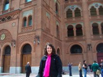 In front of Las Ventas in Madrid. It's a bullfighting ring, but I never actually saw a fight there -  just went to the museum!