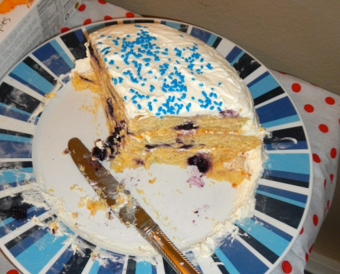 A peek at the inside of the lemon blueberry layer cake